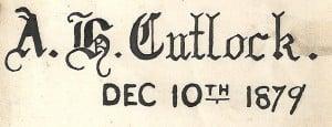 Bible inscription to A H Cutlock