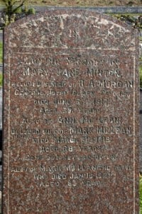 Minton and McLean gravestone