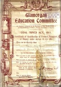 Levi Watkins Fireman Certificatert1915